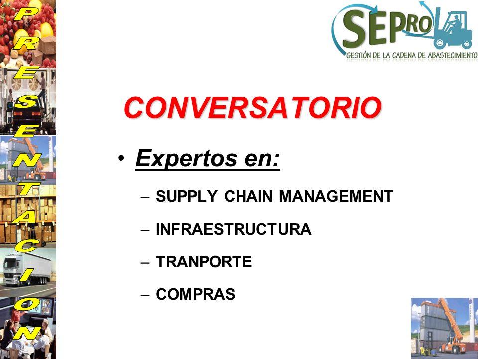 CONVERSATORIO Expertos en: –SUPPLY CHAIN MANAGEMENT –INFRAESTRUCTURA –TRANPORTE –COMPRAS
