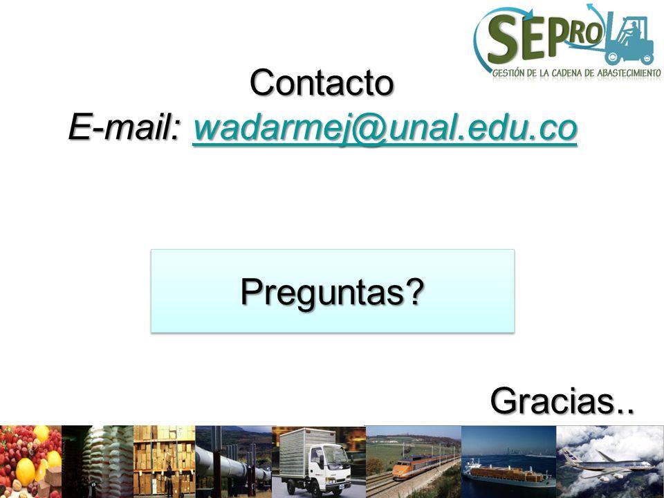 Preguntas?Preguntas? Gracias.. Contacto E-mail: wadarmej@unal.edu.co wadarmej@unal.edu.co