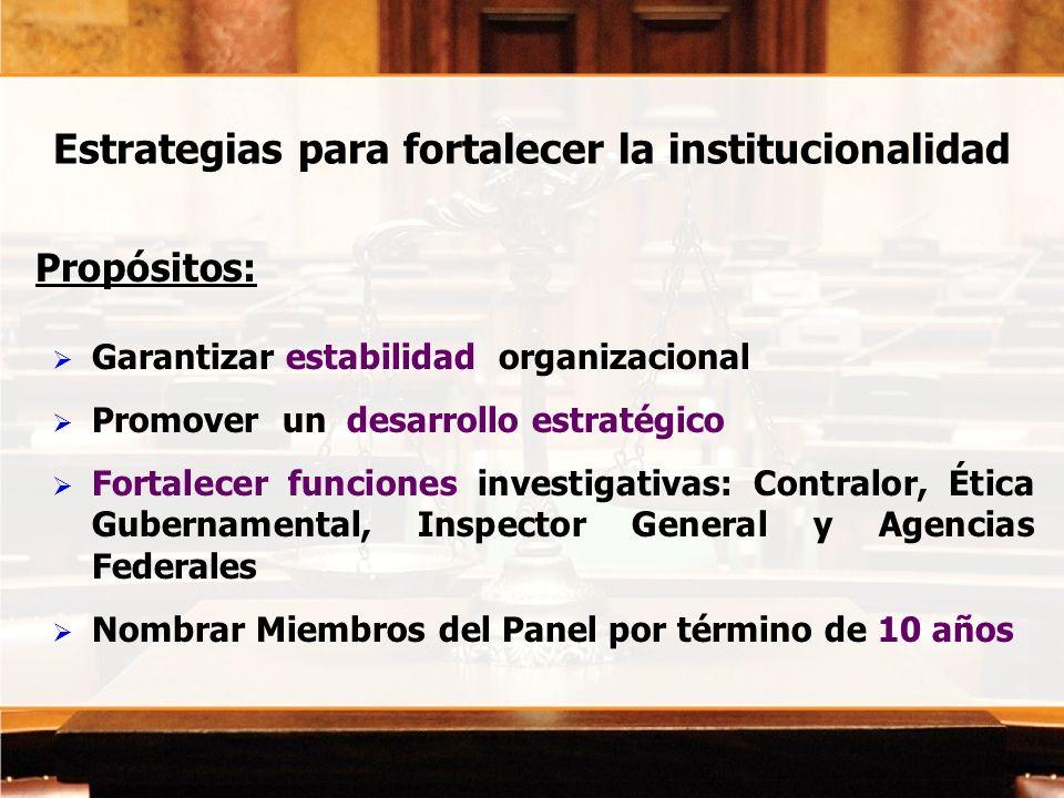 Estrategias para fortalecer la institucionalidad Propósitos: Garantizar estabilidad organizacional Promover un desarrollo estratégico Fortalecer funci