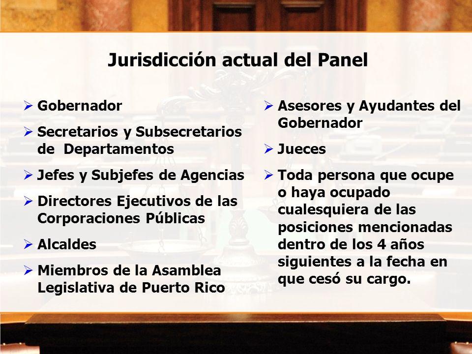 Jurisdicción actual del Panel Gobernador Secretarios y Subsecretarios de Departamentos Jefes y Subjefes de Agencias Directores Ejecutivos de las Corpo