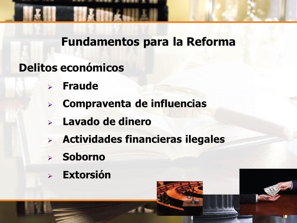 Fundamentos para la Reforma Delitos económicos Fraude Compraventa de influencias Lavado de dinero Actividades financieras ilegales Soborno Extorsión