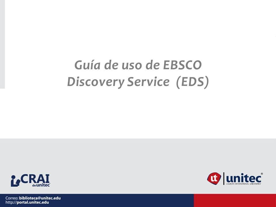 Guía de uso de EBSCO Discovery Service (EDS)