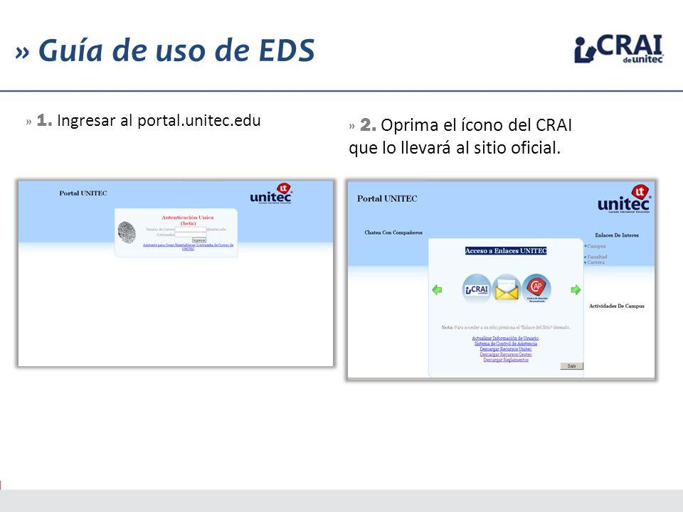 1 » Guía de uso de EDS » 1. Ingresar al portal.unitec.edu » 2. Oprima el ícono del CRAI que lo llevará al sitio oficial.