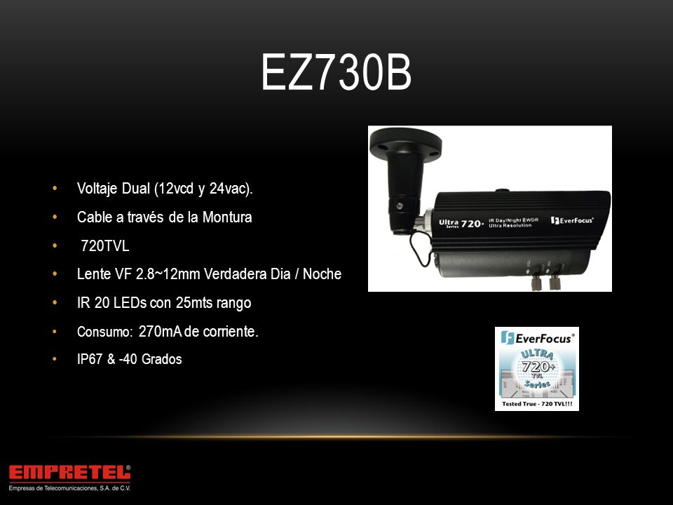 EHD730 Lente VF 2.8~12mm Dia/Noche 3-Ejes Housing Antivandálico 30 IR LEDs 30mts.