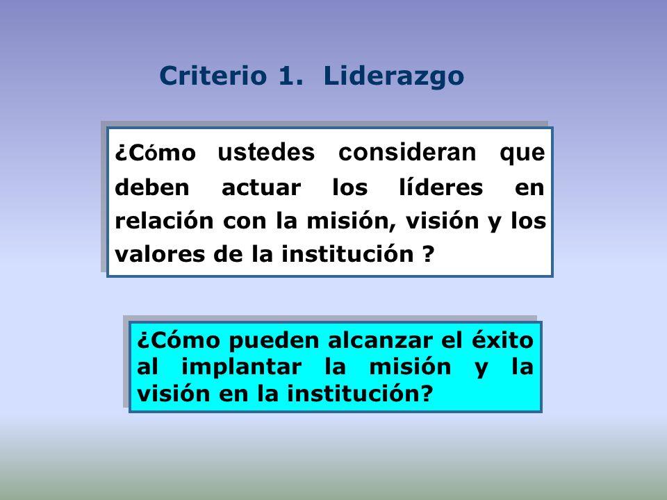 Criterio 1. Liderazgo ¿C ó mo ustedes consideran que deben actuar los líderes en relación con la misión, visión y los valores de la institución ? ¿Cóm