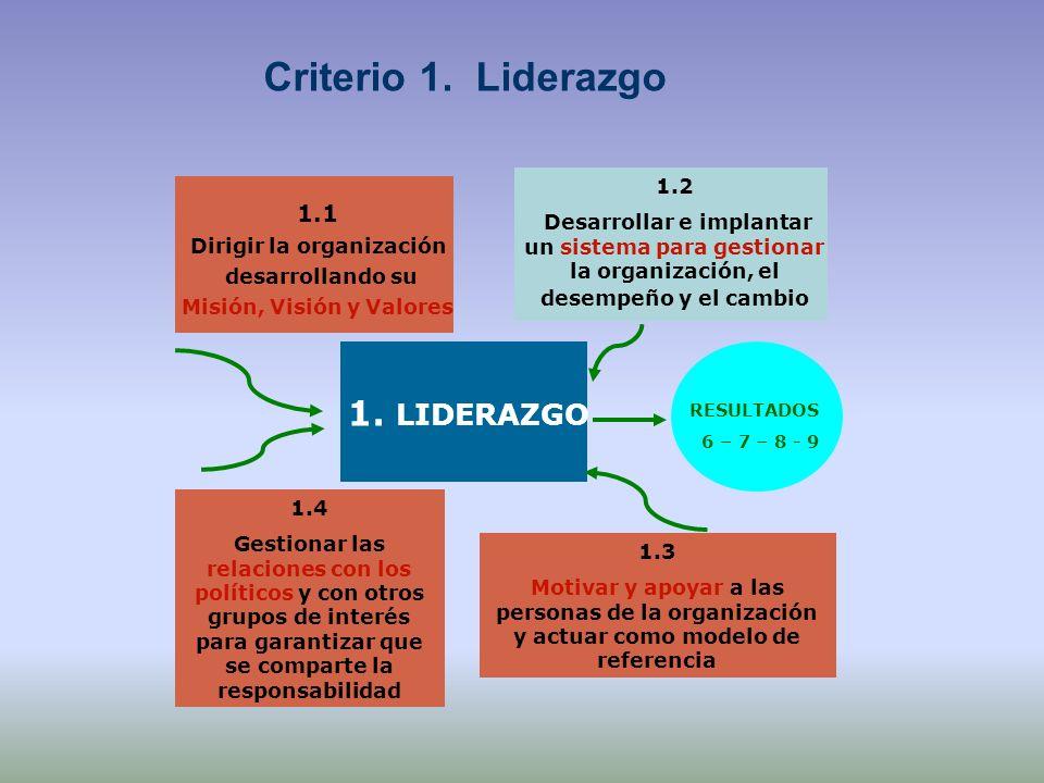 1.1 Dirigir la organización desarrollando su Misión, Visión y Valores 1.2 Desarrollar e implantar un sistema para gestionar la organización, el desemp