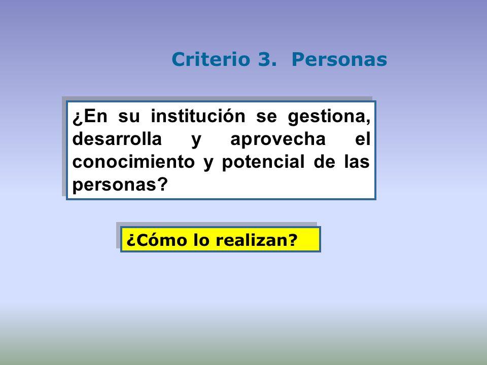 ¿En su institución se gestiona, desarrolla y aprovecha el conocimiento y potencial de las personas? Criterio 3. Personas ¿Cómo lo realizan?
