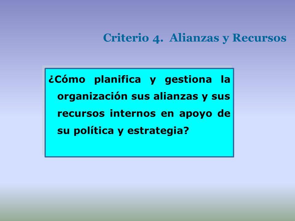 Criterio 4. Alianzas y Recursos ¿Cómo planifica y gestiona la organización sus alianzas y sus recursos internos en apoyo de su política y estrategia?