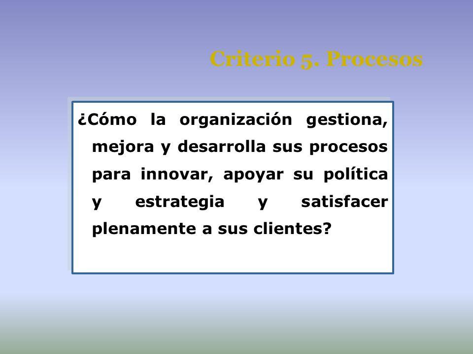 Criterio 5. Procesos ¿Cómo la organización gestiona, mejora y desarrolla sus procesos para innovar, apoyar su política y estrategia y satisfacer plena