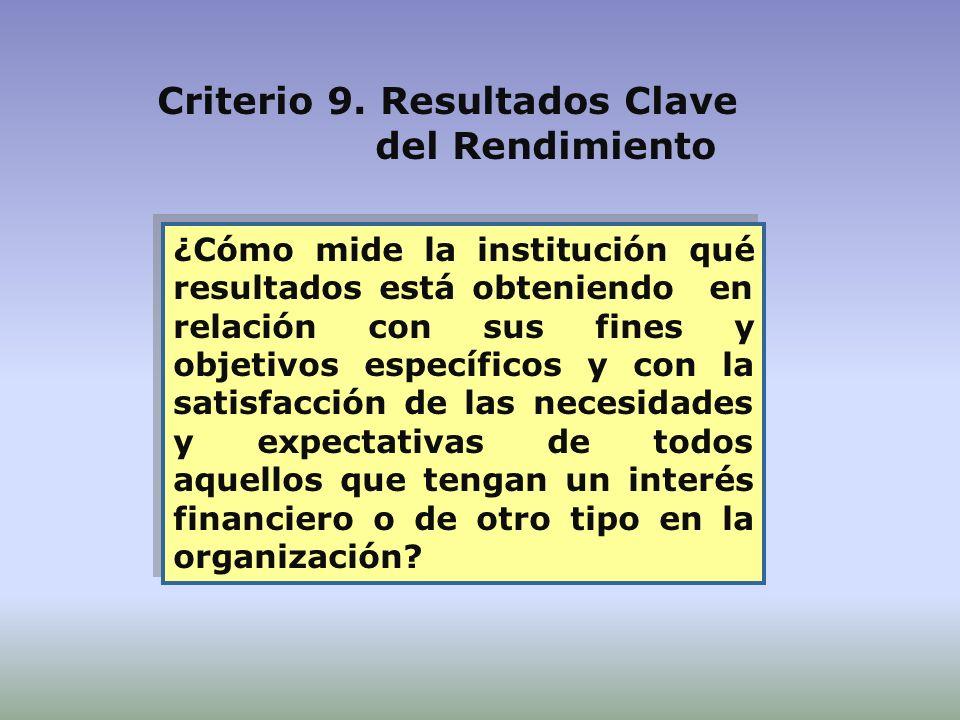 ¿Cómo mide la institución qué resultados está obteniendo en relación con sus fines y objetivos específicos y con la satisfacción de las necesidades y