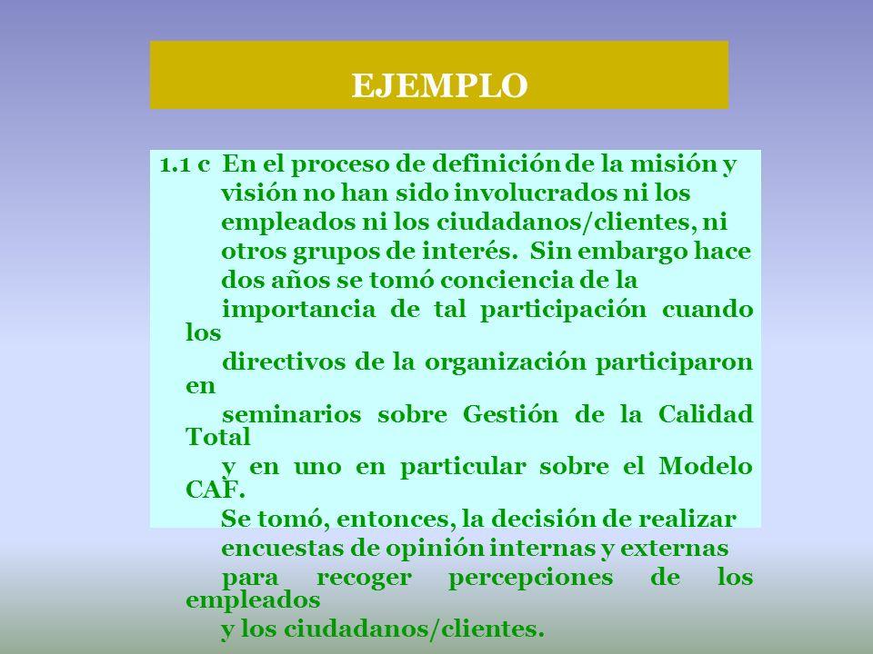 EJEMPLO 1.1 c En el proceso de definición de la misión y visión no han sido involucrados ni los empleados ni los ciudadanos/clientes, ni otros grupos