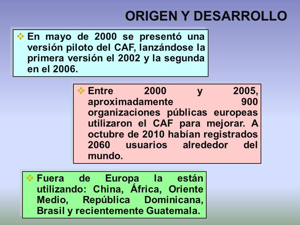 ORIGEN Y DESARROLLO Entre 2000 y 2005, aproximadamente 900 organizaciones públicas europeas utilizaron el CAF para mejorar. A octubre de 2010 habían r