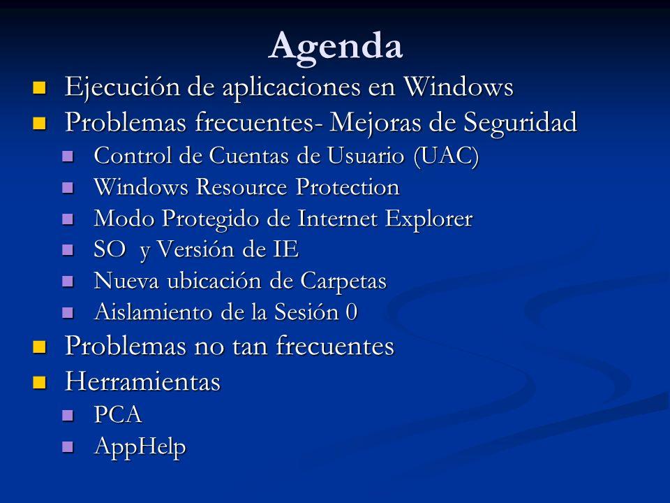 Agenda Ejecución de aplicaciones en Windows Ejecución de aplicaciones en Windows Problemas frecuentes- Mejoras de Seguridad Problemas frecuentes- Mejo