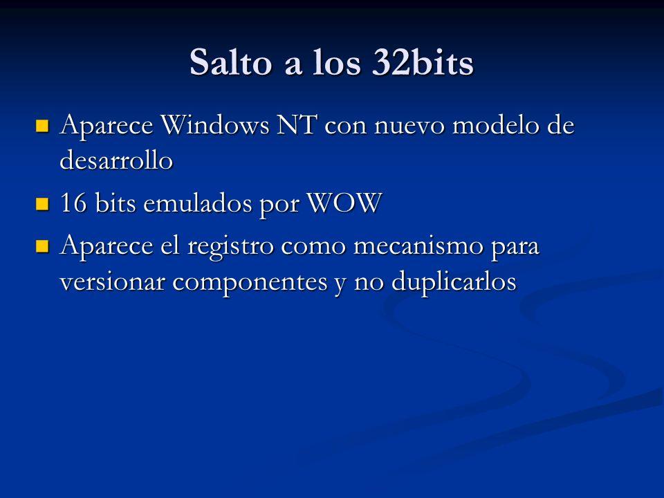 Salto a los 32bits Aparece Windows NT con nuevo modelo de desarrollo Aparece Windows NT con nuevo modelo de desarrollo 16 bits emulados por WOW 16 bit