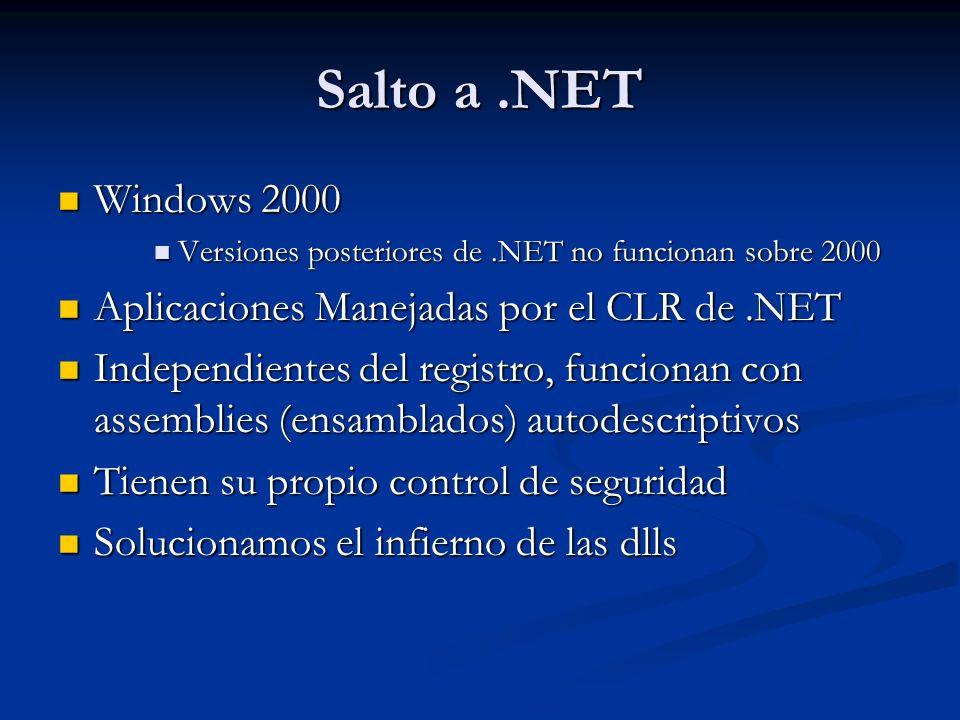Salto a.NET Windows 2000 Windows 2000 Versiones posteriores de.NET no funcionan sobre 2000 Versiones posteriores de.NET no funcionan sobre 2000 Aplica