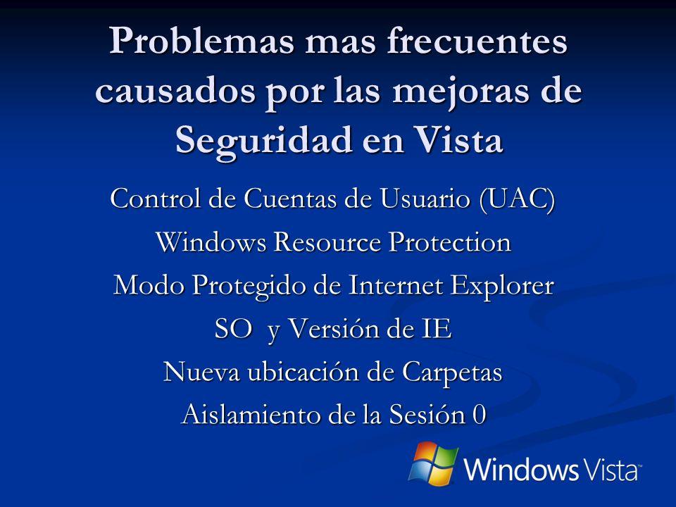 Problemas Frecuentes Control de Cuentas de Usuario (UAC) Windows Resource Protection Modo protegido Internet Explorer Versiones de OS e IE Ubicación nueva de Carpetas Aislamiento de la Sesión 0
