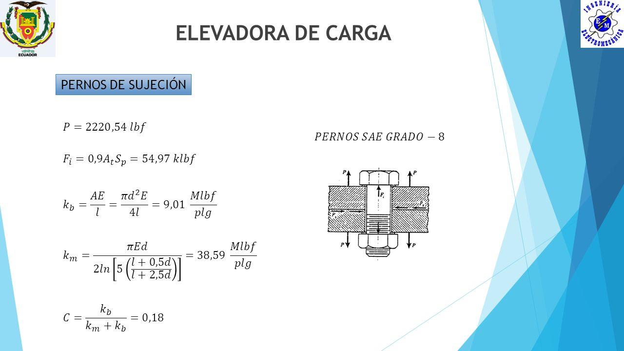 ELEVADORA DE CARGA PERNOS DE SUJECIÓN