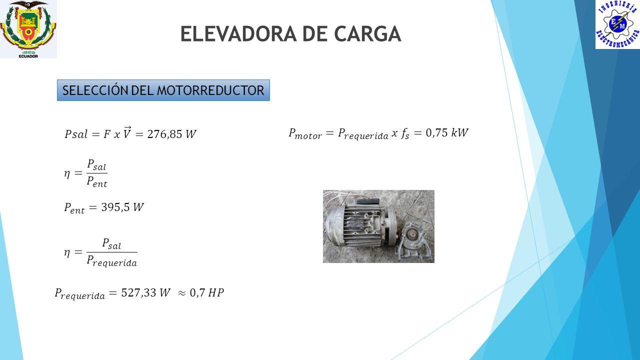 ELEVADORA DE CARGA SELECCIÓN DEL MOTORREDUCTOR