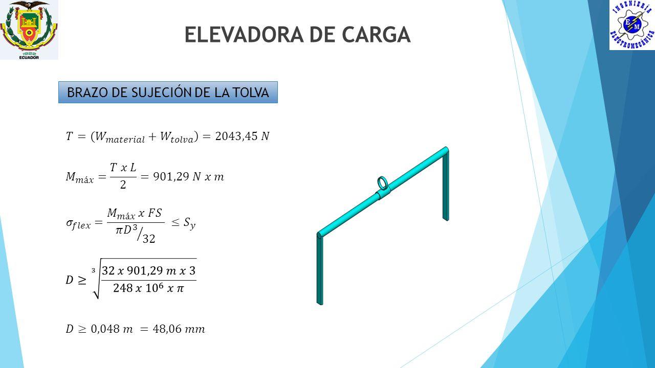 ELEVADORA DE CARGA BRAZO DE SUJECIÓN DE LA TOLVA