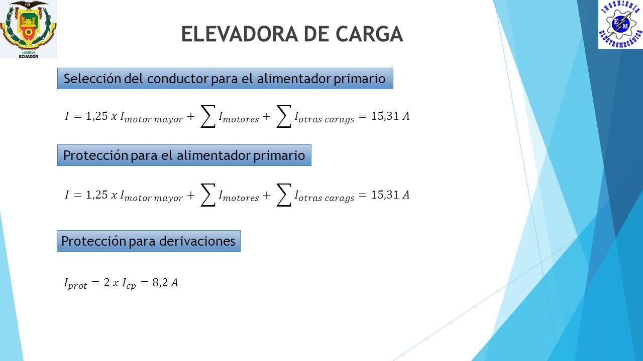ELEVADORA DE CARGA Selección del conductor para el alimentador primario Protección para el alimentador primario Protección para derivaciones