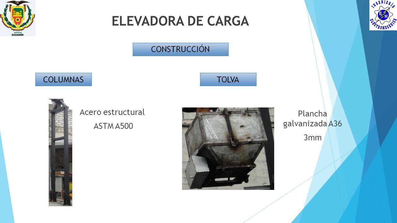ELEVADORA DE CARGA CONSTRUCCIÓN COLUMNAS Acero estructural ASTM A500 TOLVA Plancha galvanizada A36 3mm