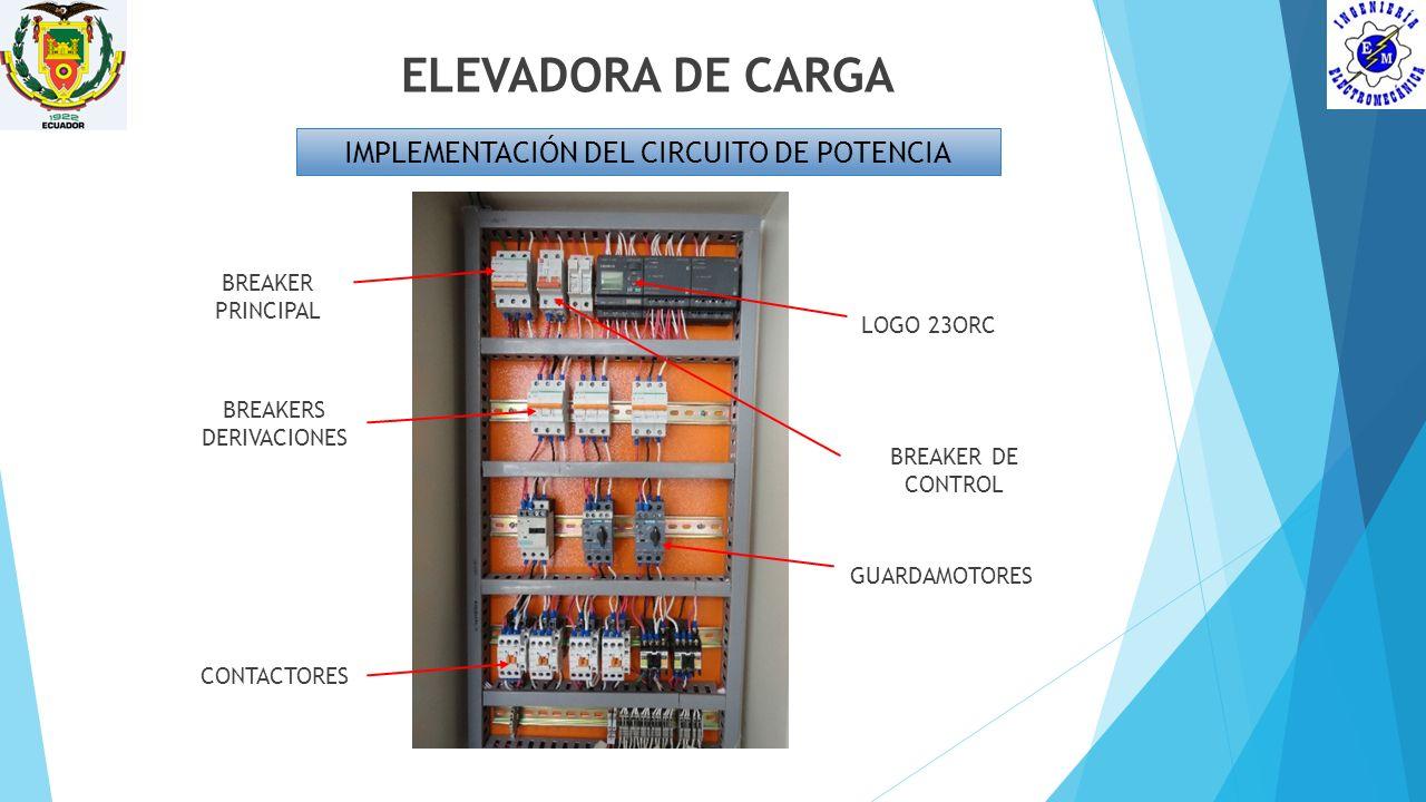 ELEVADORA DE CARGA IMPLEMENTACIÓN DEL CIRCUITO DE POTENCIA LOGO 23ORC BREAKER PRINCIPAL BREAKERS DERIVACIONES GUARDAMOTORES CONTACTORES BREAKER DE CON