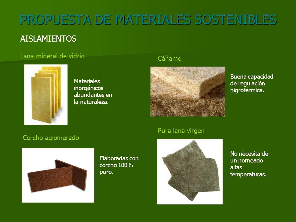PROPUESTA DE MATERIALES SOSTENIBLES AISLAMIENTOS Lana mineral de vidrio Corcho aglomerado Cáñamo Pura lana virgen Materiales inorgánicos abundantes en la naturaleza.