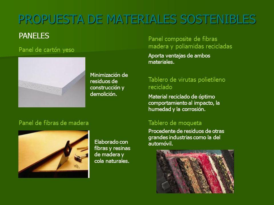 PROPUESTA DE MATERIALES SOSTENIBLES PANELES Panel de cartón yeso Panel de fibras de madera Panel composite de fibras madera y poliamidas recicladas Ta