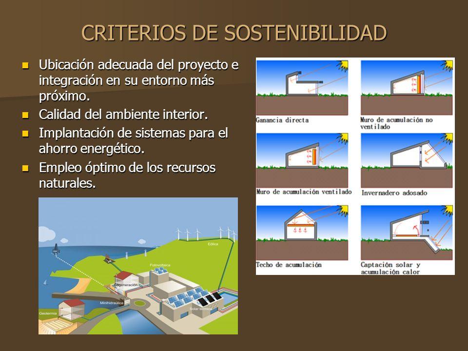 CRITERIOS DE SOSTENIBILIDAD Ubicación adecuada del proyecto e integración en su entorno más próximo.