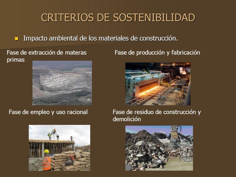 CRITERIOS DE SOSTENIBILIDAD Impacto ambiental de los materiales de construcción. Impacto ambiental de los materiales de construcción. Fase de extracci