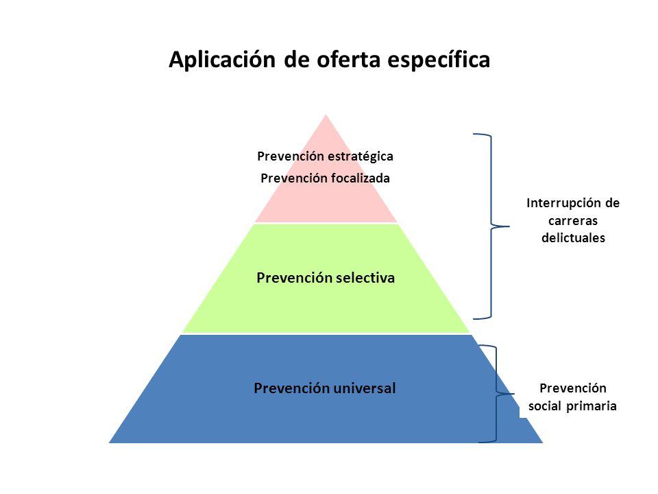 Interrupción de carreras delictuales Prevención estratégica Prevención focalizada Prevención selectiva Prevención universal Prevención social primaria Aplicación de oferta específica
