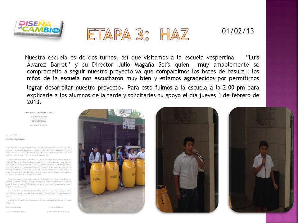 Nuestra escuela es de dos turnos, así que visitamos a la escuela vespertina Luis Álvarez Barret y su Director Julio Magaña Solís quien muy amablemente