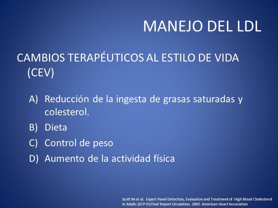 MANEJO DEL LDL CAMBIOS TERAPÉUTICOS AL ESTILO DE VIDA (CEV) A)Reducción de la ingesta de grasas saturadas y colesterol. B)Dieta C)Control de peso D)Au