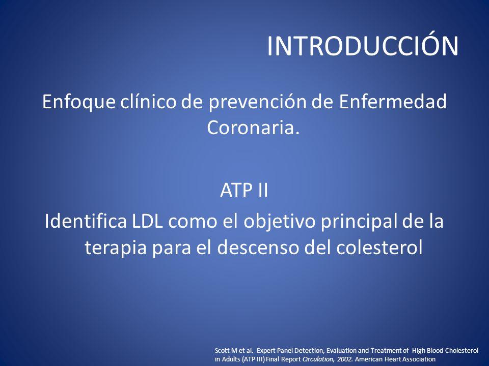 INTRODUCCIÓN Enfoque clínico de prevención de Enfermedad Coronaria. ATP II Identifica LDL como el objetivo principal de la terapia para el descenso de