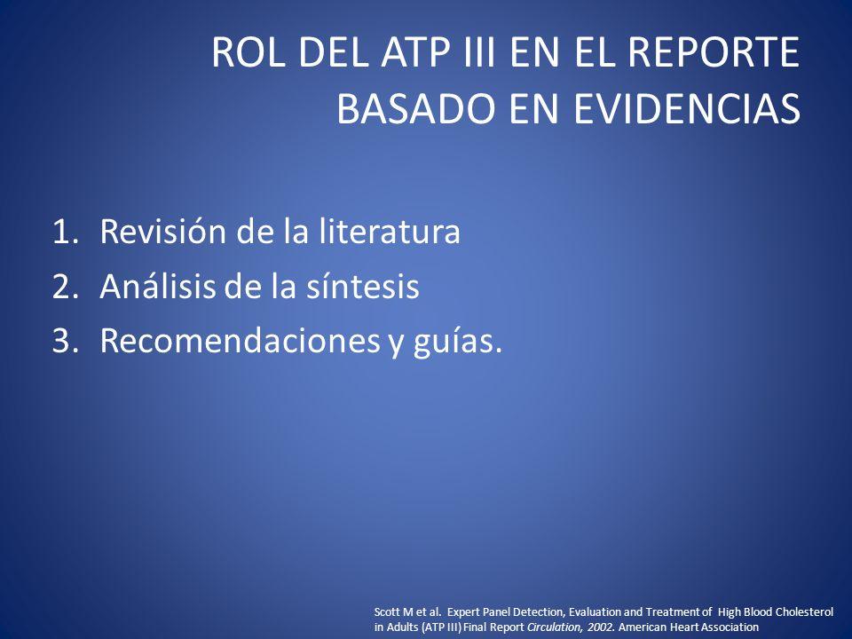 ROL DEL ATP III EN EL REPORTE BASADO EN EVIDENCIAS 1.Revisión de la literatura 2.Análisis de la síntesis 3.Recomendaciones y guías. Scott M et al. Exp