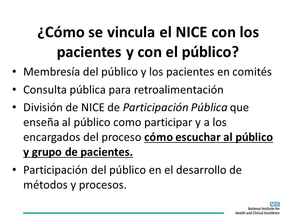 ¿Cómo se vincula el NICE con los pacientes y con el público.
