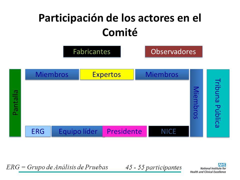 Participación de los actores en el Comité ERG Miembros Expertos Miembros Equipo líder NICE Presidente ERG = Grupo de Análisis de Pruebas Fabricantes Tribuna Pública Pantalla Observadores 45 - 55 participantes