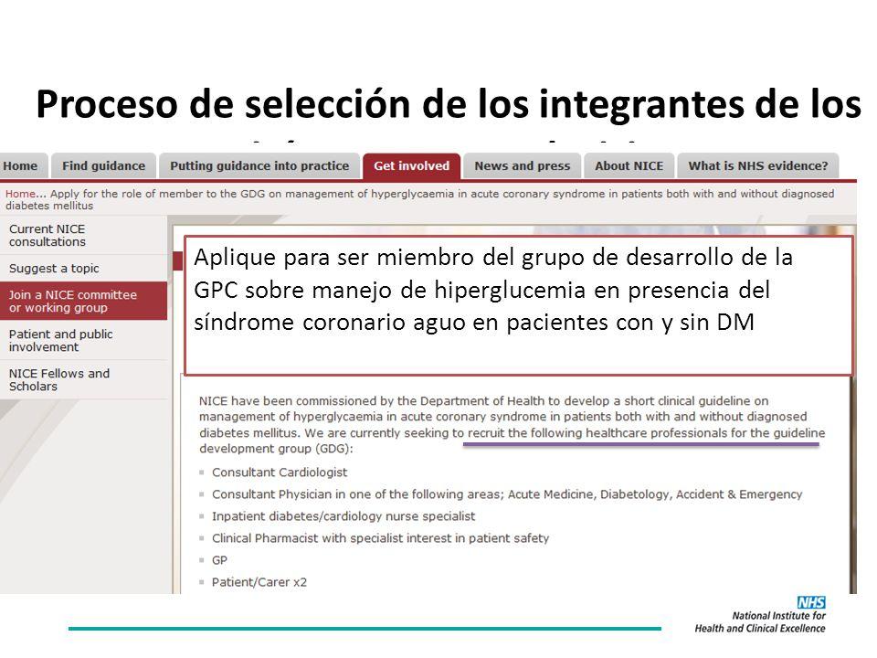 Proceso de selección de los integrantes de los comités que toman decisiones Aplique para ser miembro del grupo de desarrollo de la GPC sobre manejo de hiperglucemia en presencia del síndrome coronario aguo en pacientes con y sin DM