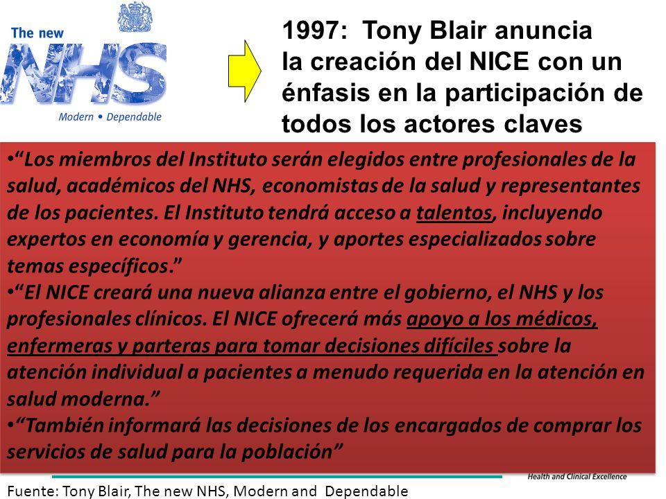 1997: Tony Blair anuncia la creación del NICE con un énfasis en la participación de todos los actores claves Los miembros del Instituto serán elegidos entre profesionales de la salud, académicos del NHS, economistas de la salud y representantes de los pacientes.