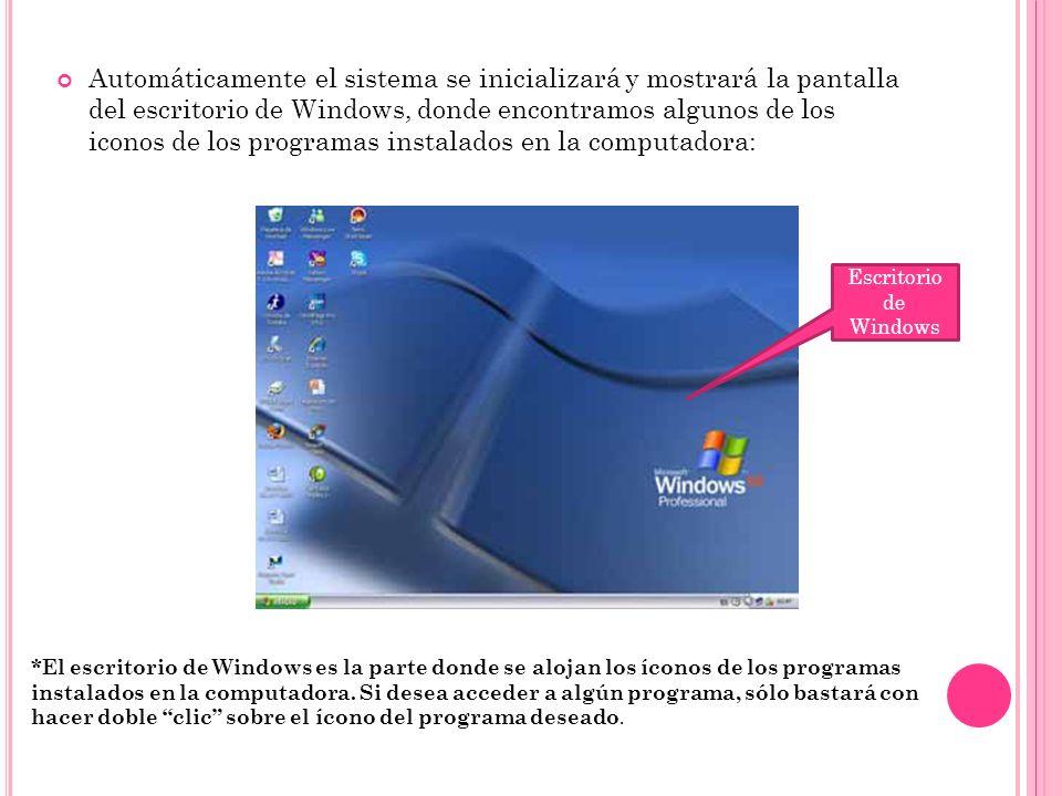 Automáticamente el sistema se inicializará y mostrará la pantalla del escritorio de Windows, donde encontramos algunos de los iconos de los programas