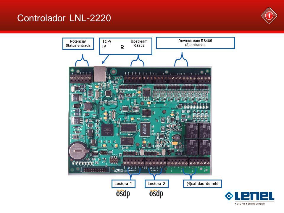 Lectora 1Lectora 2 TCP/ IP O (4)salidas de relé Downstream RS485 (8) entradas Upstream RS232 Potencia/ Status entrada