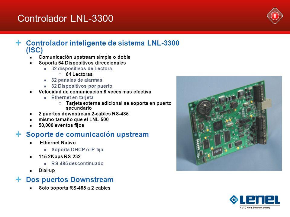 Controlador LNL-3300 Controlador inteligente de sistema LNL-3300 (ISC) Comunicación upstream simple o doble Soporta 64 Dispositivos direccionales 32 d