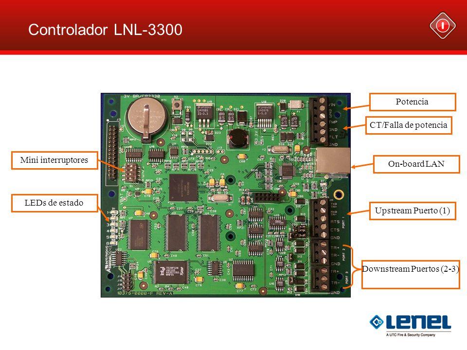 Controlador LNL-3300 Potencia CT/Falla de potencia Upstream Puerto (1) Downstream Puertos (2-3) LEDs de estado Mini interruptores On-board LAN