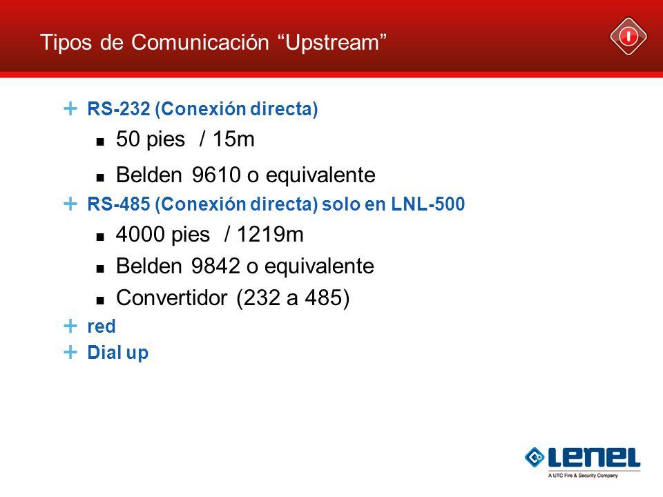 Tipos de Comunicación Upstream RS-232 (Conexión directa) 50 pies / 15m Belden 9610 o equivalente RS-485 (Conexión directa) solo en LNL-500 4000 pies /