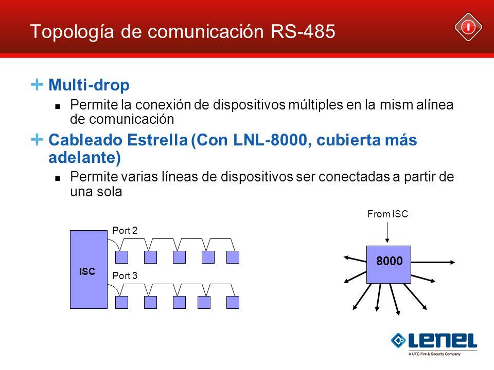 Topología de comunicación RS-485 Multi-drop Permite la conexión de dispositivos múltiples en la mism alínea de comunicación Cableado Estrella (Con LNL