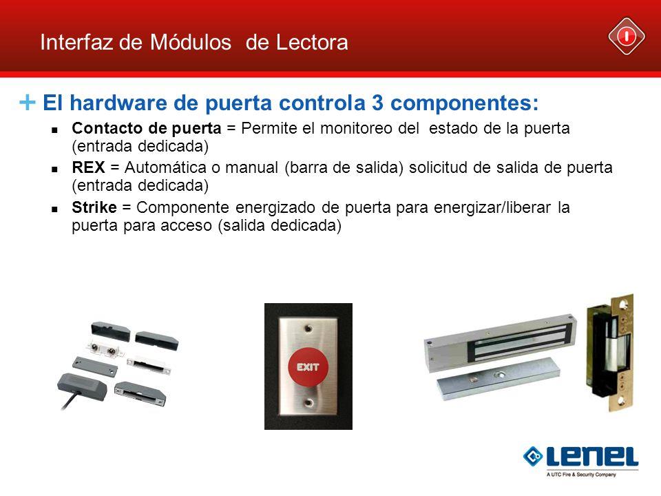 Interfaz de Módulos de Lectora El hardware de puerta controla 3 componentes: Contacto de puerta = Permite el monitoreo del estado de la puerta (entrad