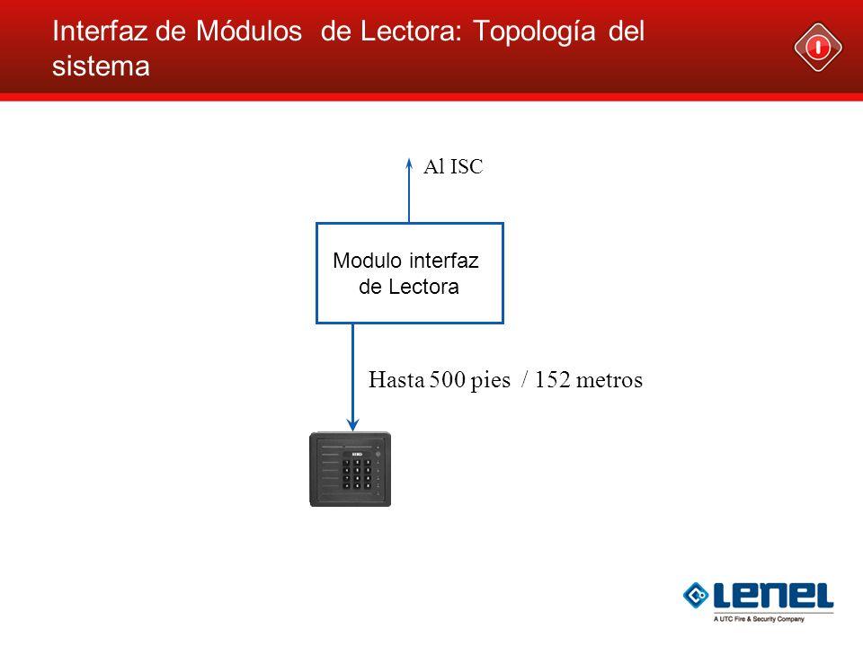 Al ISC Interfaz de Módulos de Lectora: Topología del sistema Modulo interfaz de Lectora Hasta 500 pies / 152 metros
