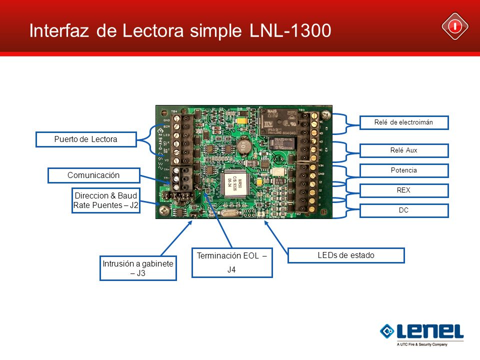 Interfaz de Lectora simple LNL-1300 Puerto de Lectora Comunicación DC Direccion & Baud Rate Puentes – J2 LEDs de estado Relé de electroimán Relé Aux R