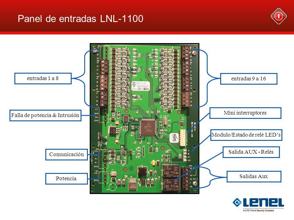 Panel de entradas LNL-1100 Falla de potencia & Intrusión Modulo/Estado de relé LEDs Salida AUX - Relés entradas 9 a 16 entradas 1 a 8 Mini interruptor