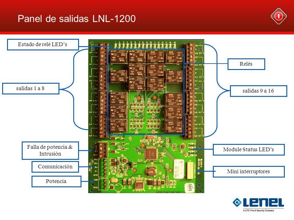 Panel de salidas LNL-1200 Falla de potencia & Intrusión Estado de relé LEDs Module Status LEDs Relés salidas 9 a 16 salidas 1 a 8 Mini interruptores C